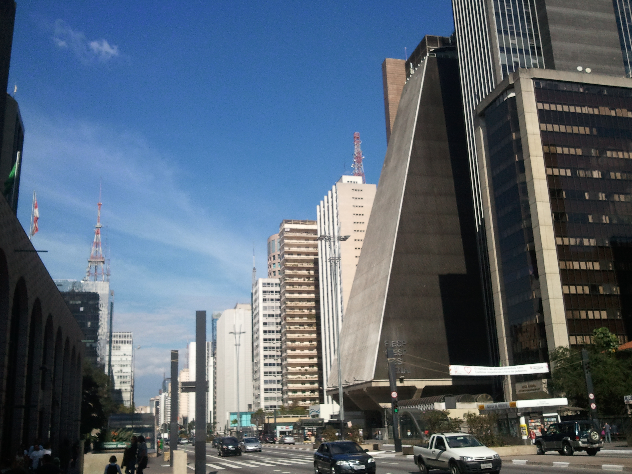 Avenida Sao Paulo with the sharp triangular edge of the FIESP building in the center. Sao Paulo will always be Brazil's economic hub. But if you're a retailer looking to expand, it's not going to be here. (Photo by Jackie O. Cruz/FORBES)