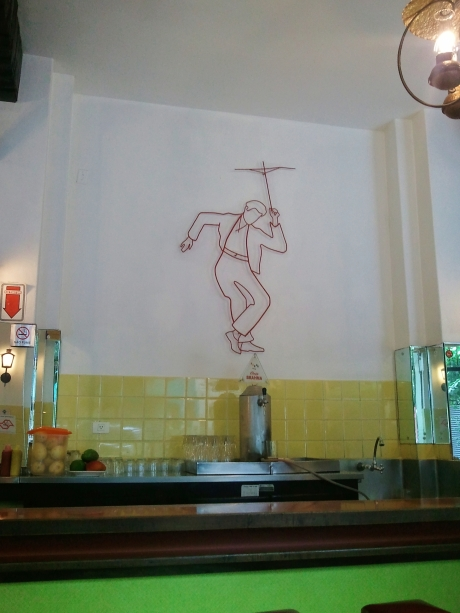 He dances over the beer pump