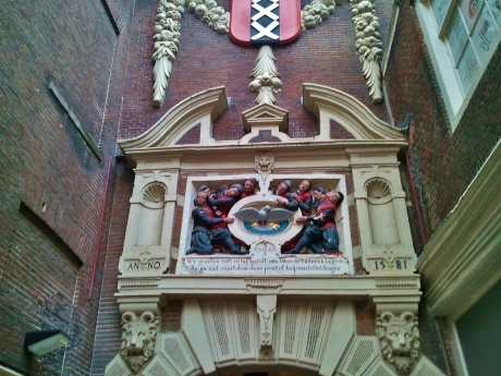 Carved gable stone from the orphanage on the site of today's Amsterdam Museum