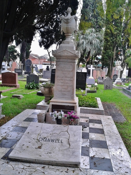 An elaborate Irish family grave with Masonic hourglass